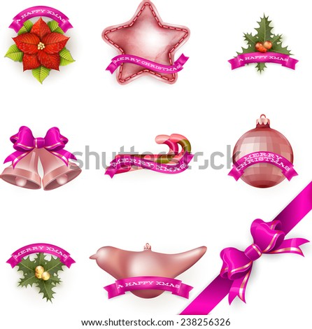 Set of attributes and toys which are used to decorate a Christmas tree. EPS 10 vector file included - stock vector