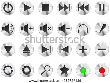 Set of audio buttons - vector - stock vector