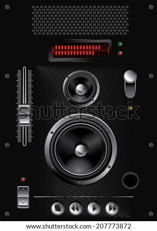 Set of audio interface design elements - stock vector