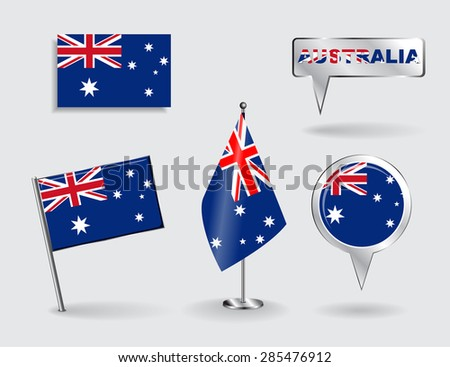 Set of Australian pin, icon and map pointer flags. Vector illustration. - stock vector