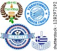Set of authentic greek food stamp and labels on white background, vector illustration - stock photo