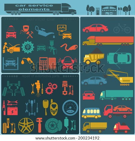 Set of auto repair service elements for creating your own infographics or maps of the car service station. Vector illustration - stock vector
