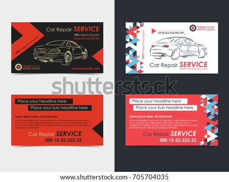 Set automotive service business cards layout stock vector set of automotive service business cards layout templates create your own business cards mockup reheart Image collections