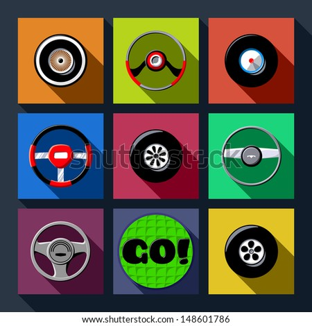 Set of automotive themed long shadow flat icons - stock vector