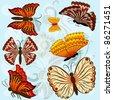 Set of autumn colored vector butterflies. - stock vector