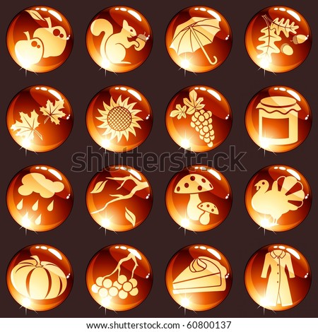 Set of autumn icons in warm tones (Eps10); jpg version also available