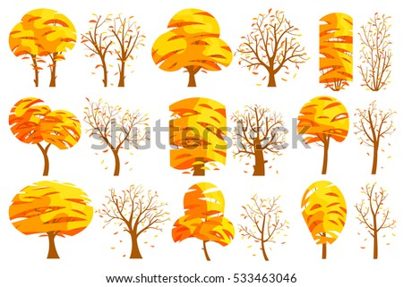 Set of autumn isolated trees on white background. Vector illustration. Trees of different shapes and sizes with a yellow foliage,branches. Components for landscape pictures, game locations and nature.