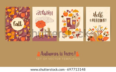 set autumn templates vector design card stock vector royalty free