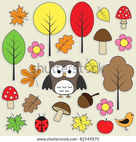 Set of autumnal bright stickers. Set 3 of 3. - stock vector