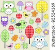 Set of autumnal textile stickers. Set 2 of 3. - stock vector
