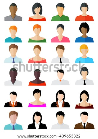 Set of Avatar Color Icons - Illustration - stock vector