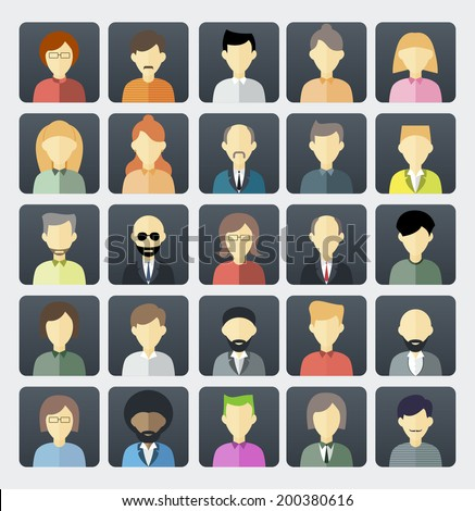Set of avatar flat design icons - stock vector