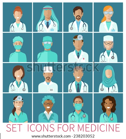 Set of  avatar icons characters for medicine, flat design - stock vector
