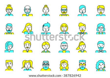 Set of avatars. Flat style. Line colorful icons collection of people for profile page, social network, social media, website and mobile website apps. different age, professional human occupation. - stock vector