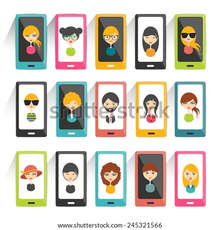 Set of avatars heads profile pictures flat icons. Vector stylized illustration.  - stock vector