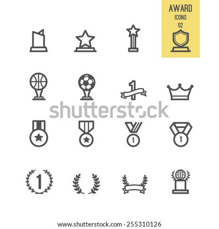 Set of award icon. Vector illustration. - stock vector