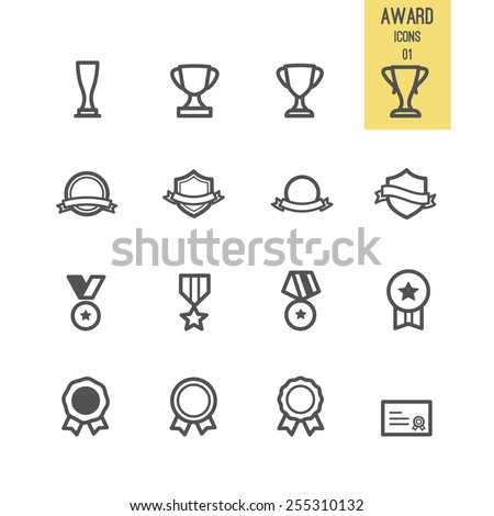 Set of award icon. Vector illustration. - stock vector