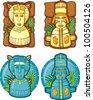 Set of aztecs masks - stock vector