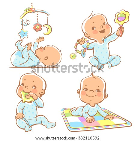 Set Babies Playing Toys First Year Stock Vector 382110592