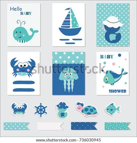 Set Baby Cards Scrapbook Elements Marine Stock Vector 736030945