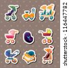 set of baby carriage stickers - stock photo
