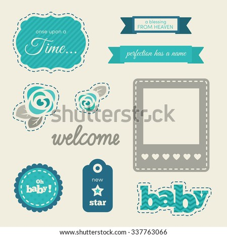Set of baby design elements. Blue and azure colors. Templates for cards, birthday invitations, baby shower invitations, save the date cards etc.