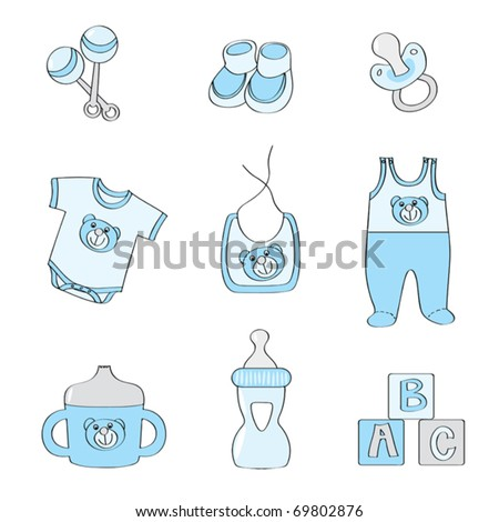 Set of baby elements - blue color for boys - stock vector