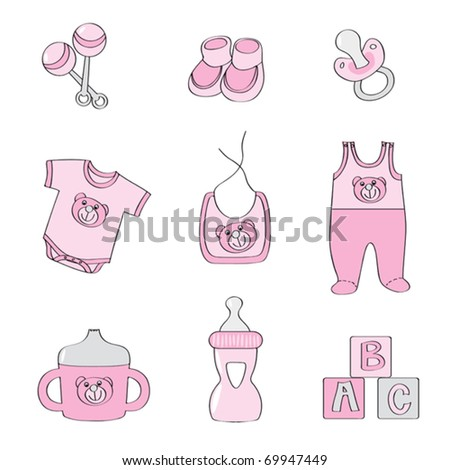 Set of baby elements - pink color for girls - stock vector