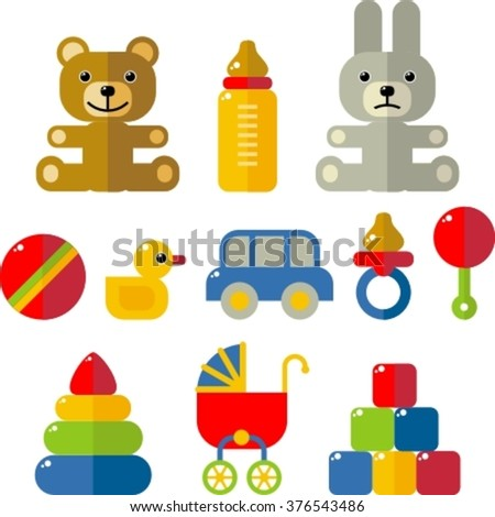 set of baby flat icons
