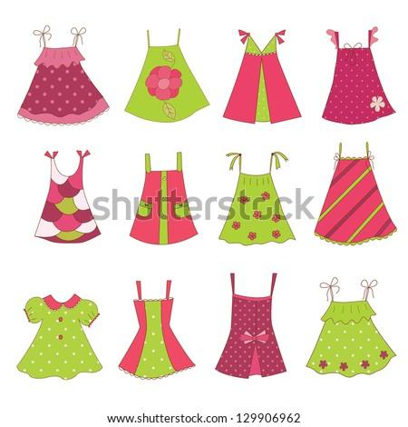 Set of baby girl dresses, isolated over white - stock vector