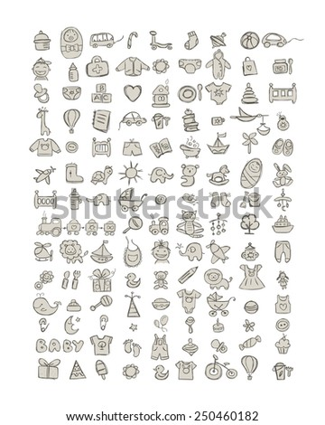 Set of 126 baby icons for your design. Vector illustration - stock vector