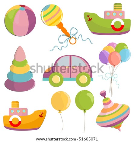 Set of baby's toys elements (EPS10) - stock vector
