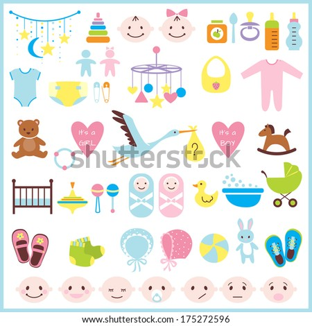 Set of baby shower elements isolated on white background. Vector illustration - stock vector