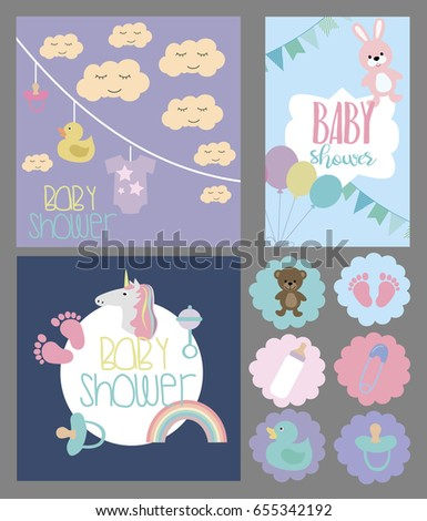 Set of Baby shower invitation card, labels and stickers. Vector illustration