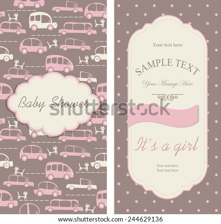 """set of Baby shower invitations """"It's a girl"""" - stock vector"""