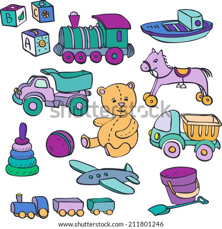 set of baby toys, cars,bear,horse,ball, cubes, hand drawn vector illustration