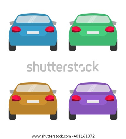 Set of back of cars in vector on white background. - stock vector