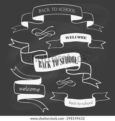 Set of back to school badges on chalkboard. Vector illustration - stock vector