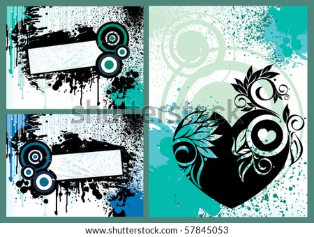 set of background for floral heart and grungy design. vector illustration - stock vector