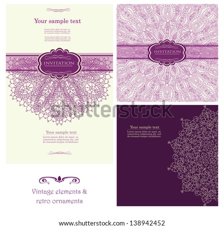 Set of background for invitation card vector eps 10 - stock vector