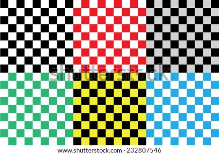 Set of background patterns : Colorful vector checkerboard patterns.