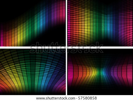 Set of Backgrounds - Equalizer - stock vector