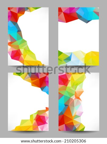 Set of backgrounds with abstract geometrical triangles - stock vector