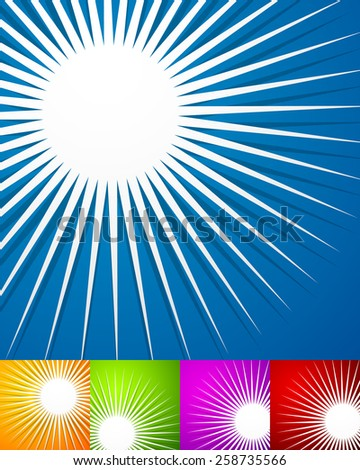 Set of Backgrounds with Abstract Spiky Shapes  - stock vector