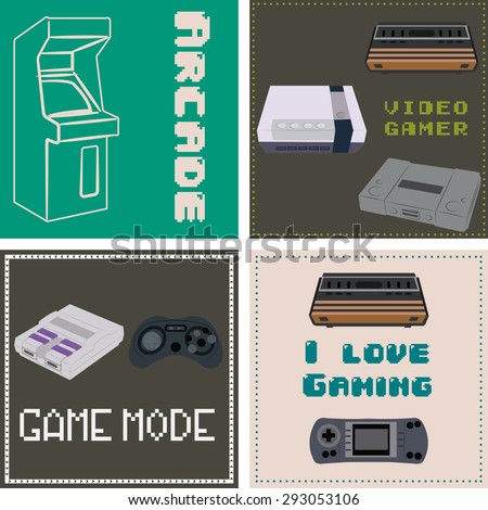 Set of backgrounds with controllers, consoles and text. Vector illustration - stock vector