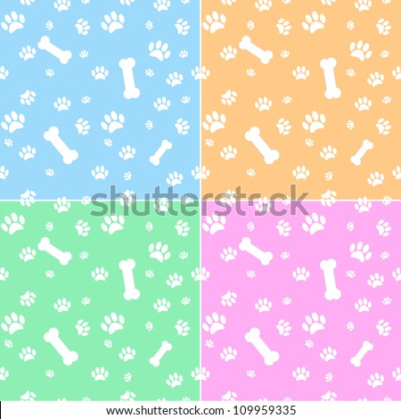 Set Backgrounds Dog Paw Print Bone Stock Vector 109959335