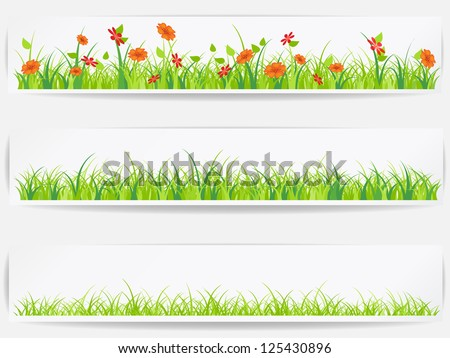 Set of  backgrounds with vector green grass - stock vector