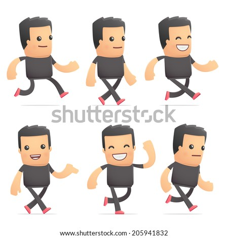 set of bad guy character in different interactive  poses - stock vector