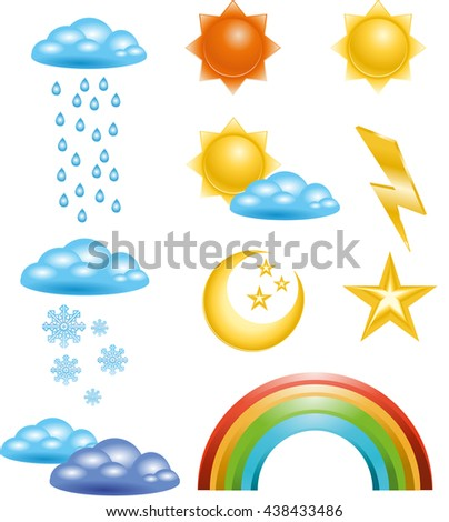 Set of Badges and icons in vector weather events. Internet site icons in the weather - stock vector