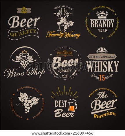 Set of badges and labels elements for alcohol drinks  - vector illustration. - stock vector